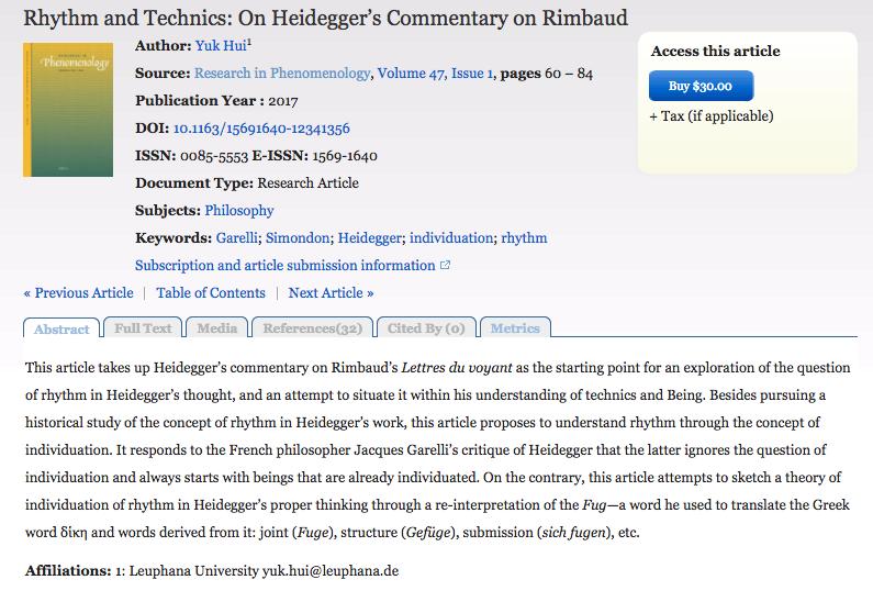 New Article: Rhythm and Technics: On Heidegger's Commentary on Rimbaud