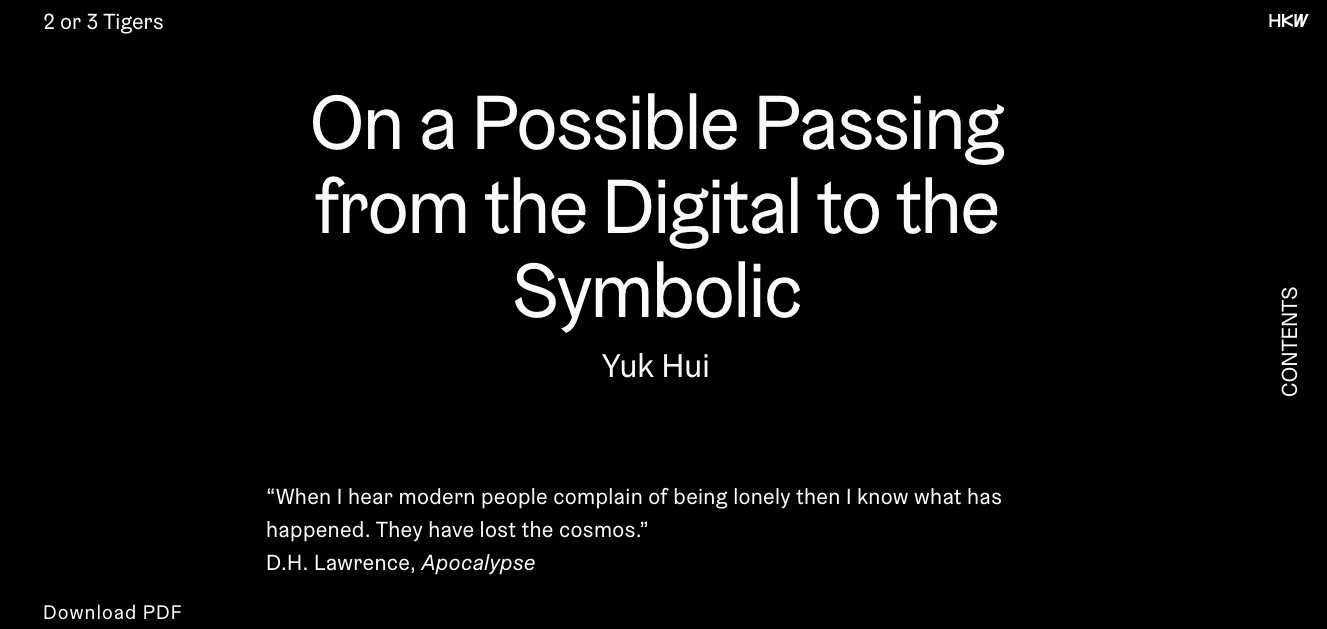 On a Possible Passing from the Digital to the Symbolic