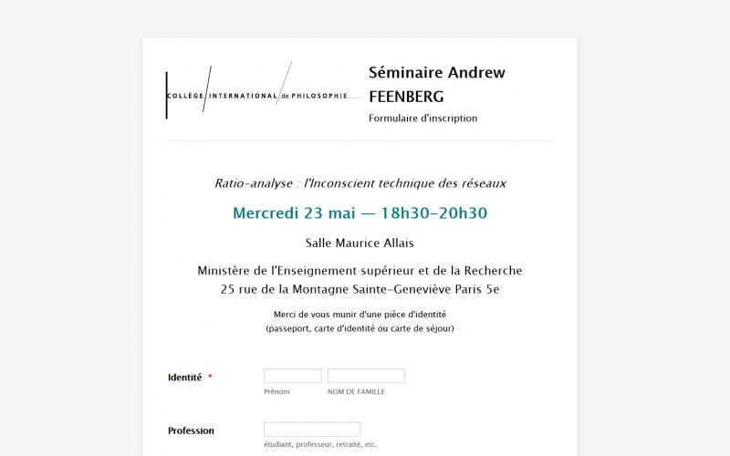 Andrew Feenberg's Course on Philosophy of Technics in Paris