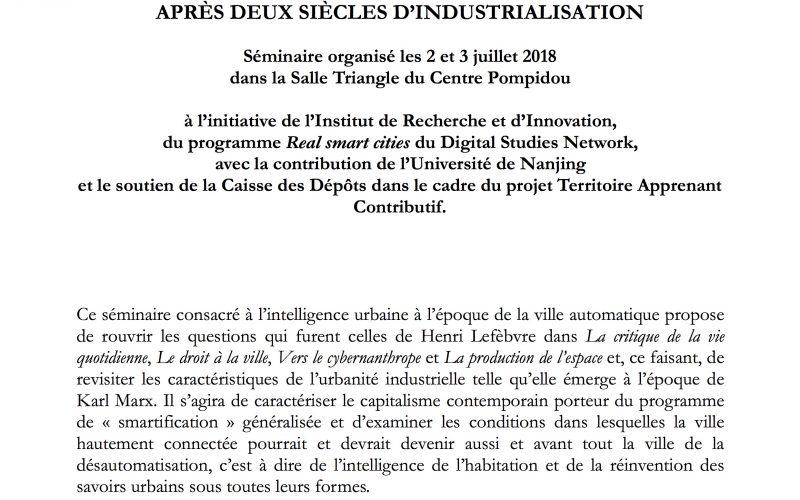 活動: L'INTELLIGENCE URBAINE APRÈS DEUX SIÈCLES D'INDUSTRIALISATION